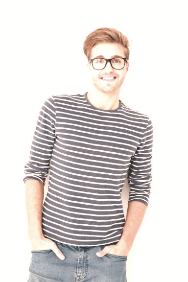 Vertical image of man in striped sweater